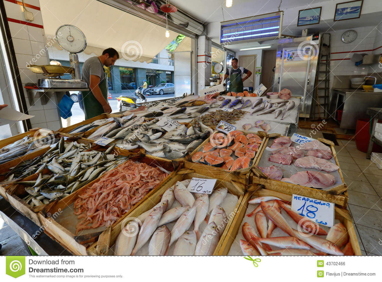 People sell freh fish in chania crete editorial photo for Fish market prices
