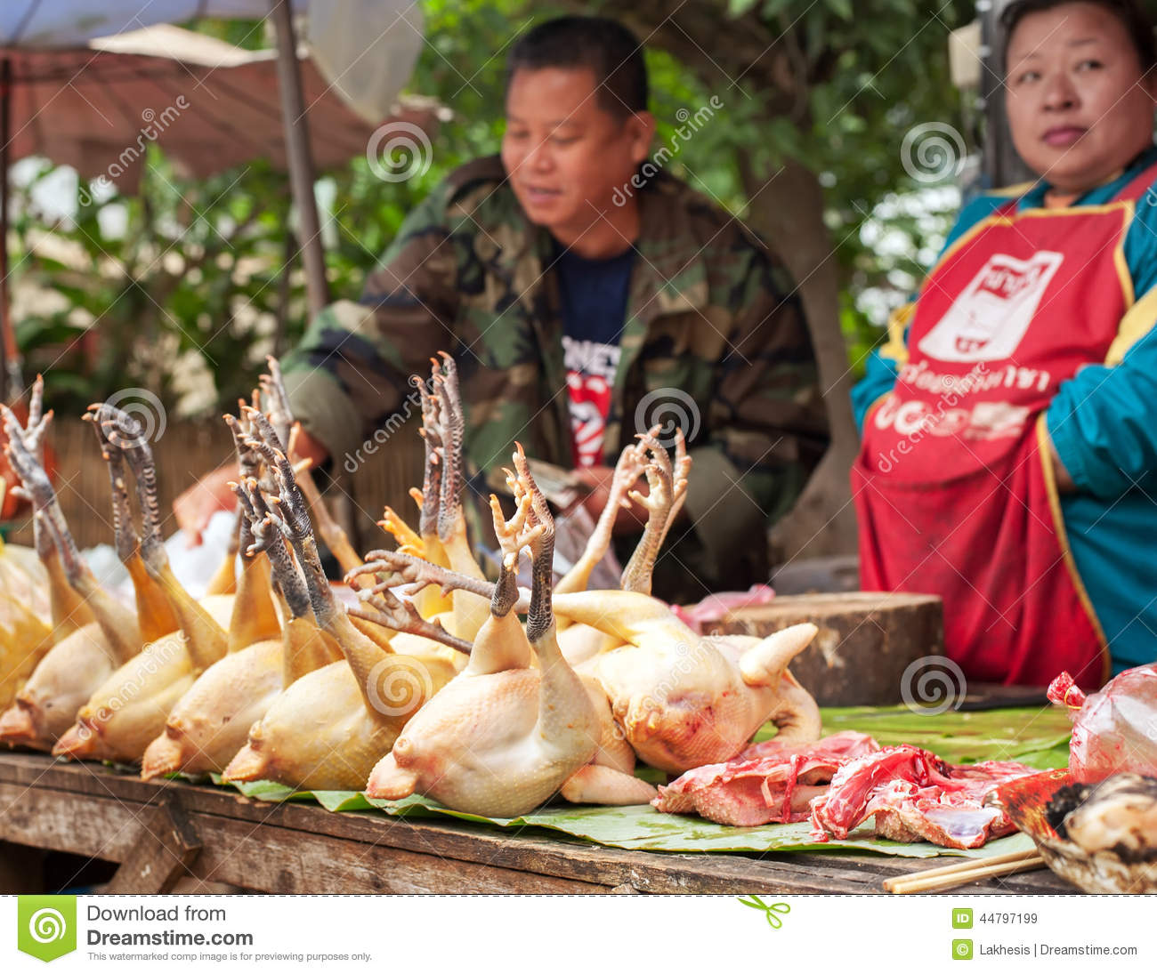 People Selling Traditional Asian Style Food At Street ...