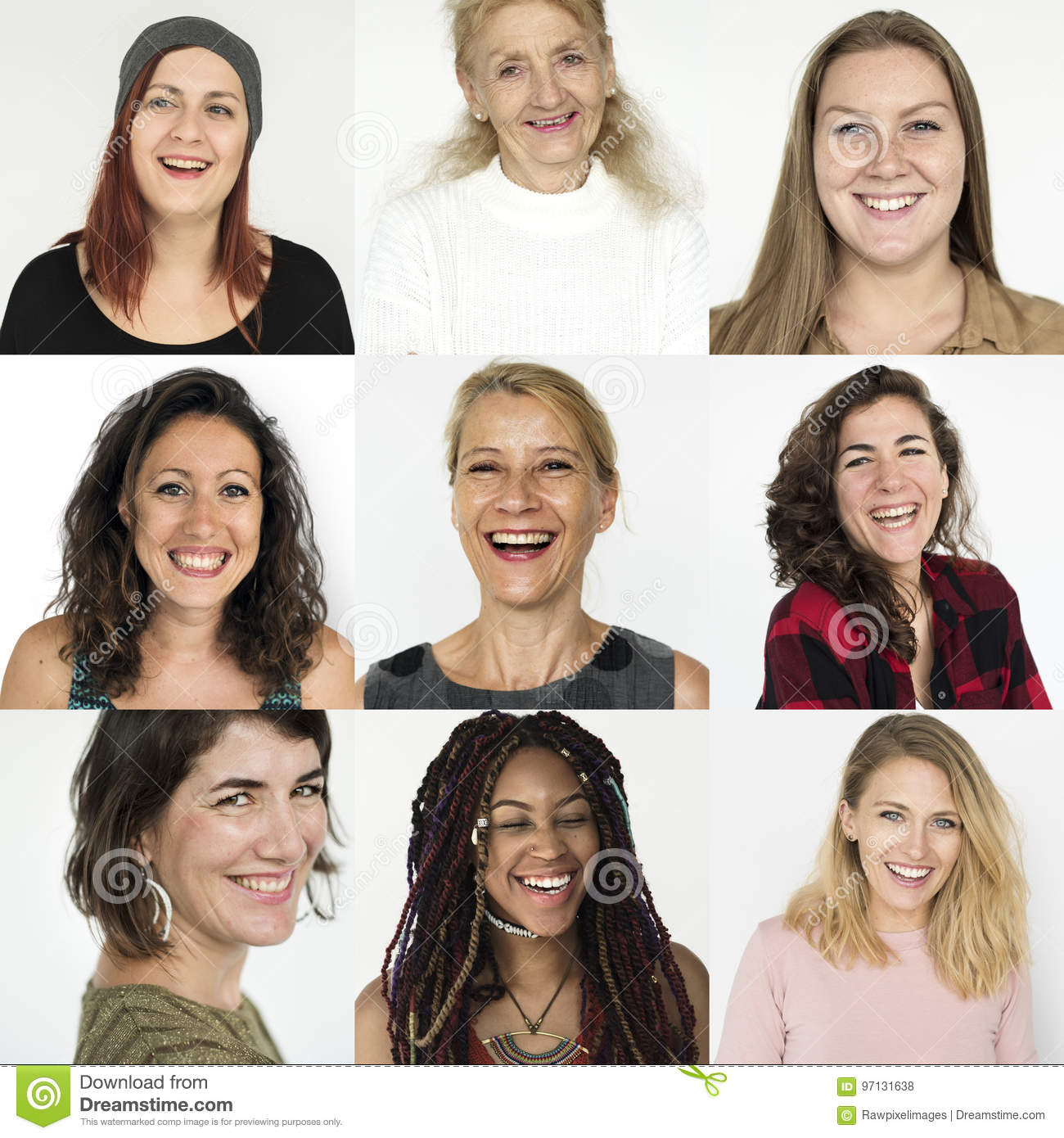 People Set Of Diversity Women With Smiling Face Expression