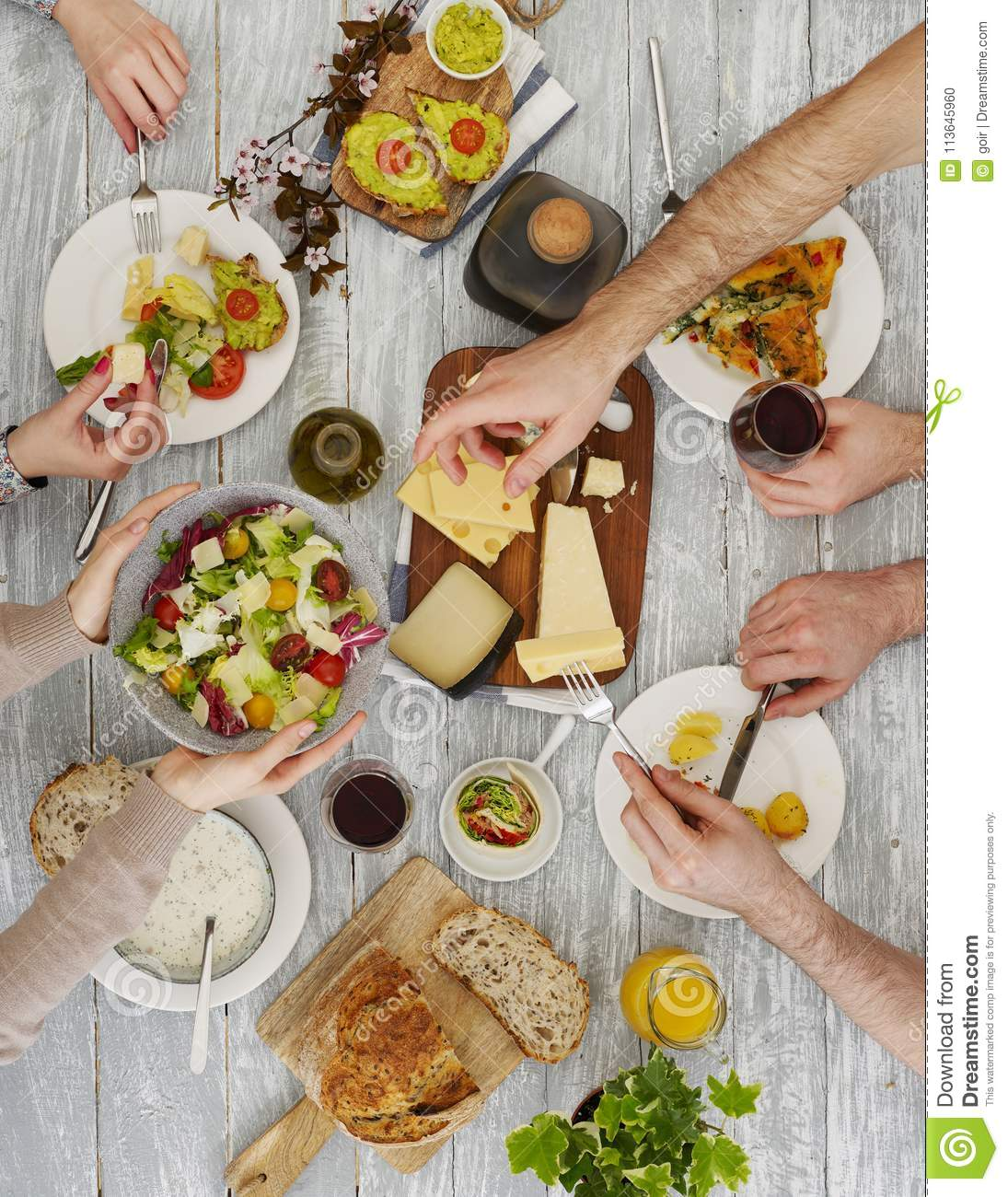 People sharing the food