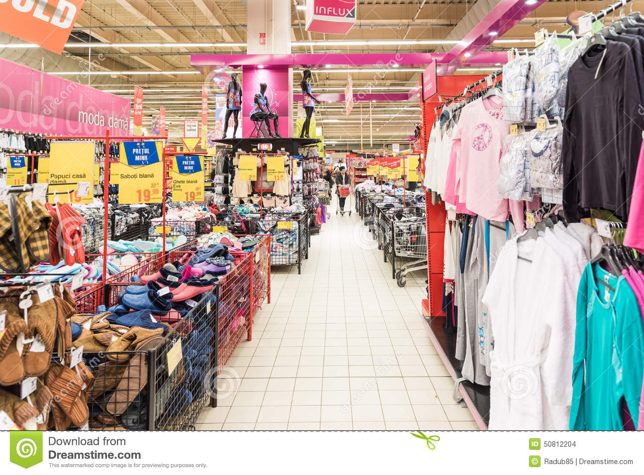 People Shopping For Cheap Clothes In Supermarket Store Editorial ...