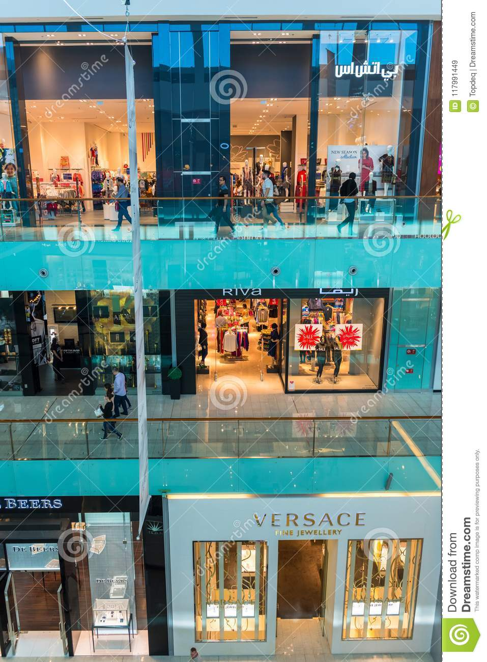 People Shopping On Dubai Mall Store Center Editorial Stock Image