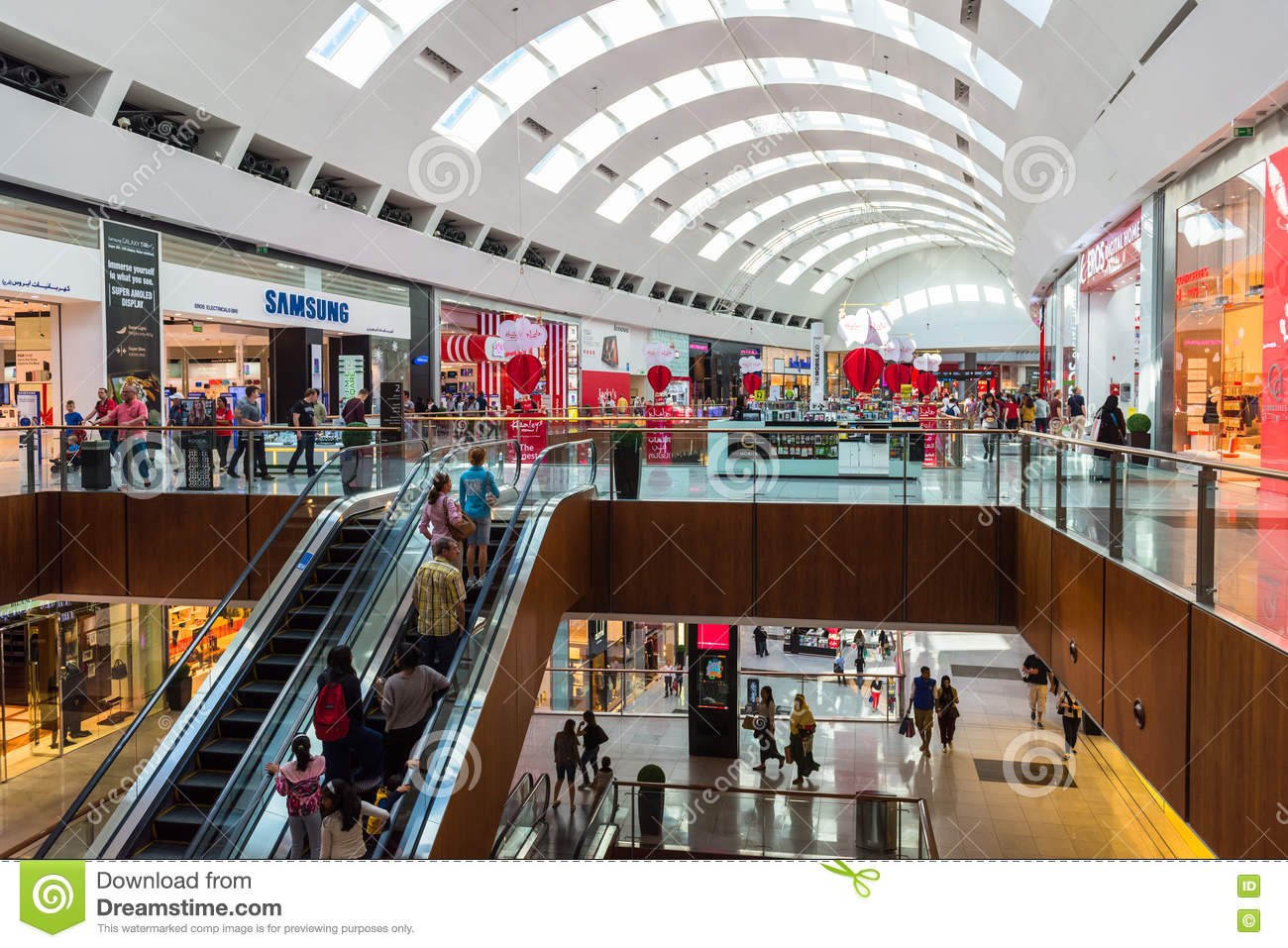 People Shopping On Dubai Mall Store Center Editorial Stock Photo