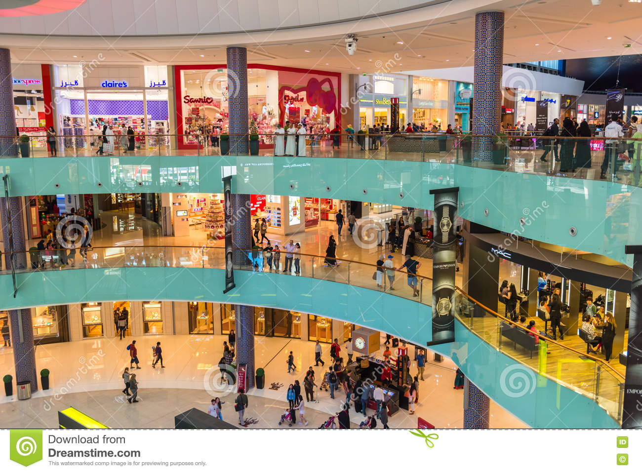 People Shopping On Dubai Mall Store Center Editorial Stock