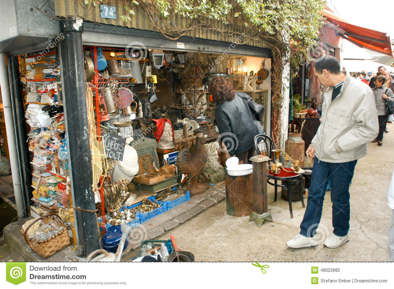 People Shopping At The Flea Market Of Clignancourt At