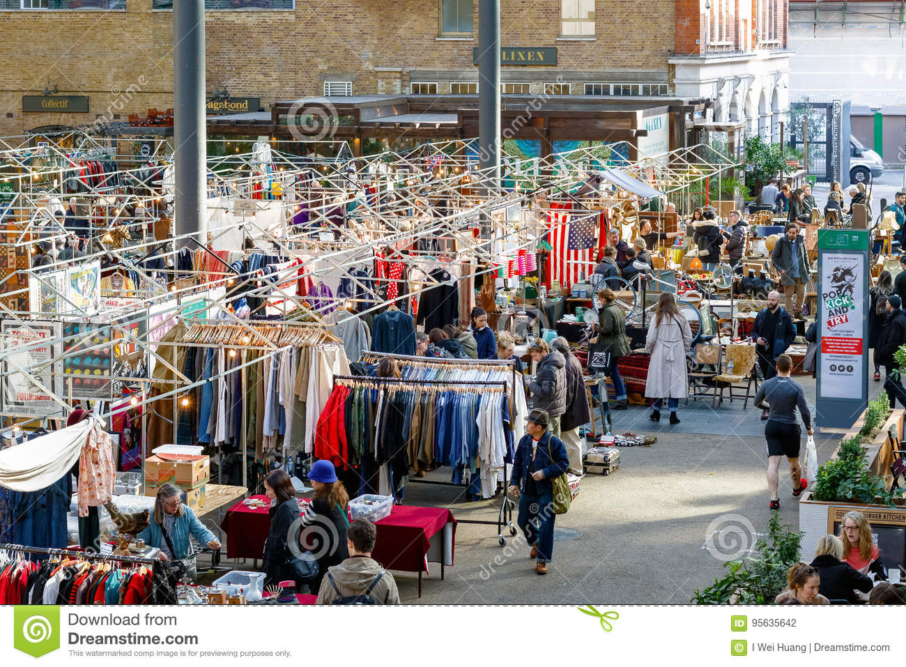 People shopping at Old Spitalfields Market in London