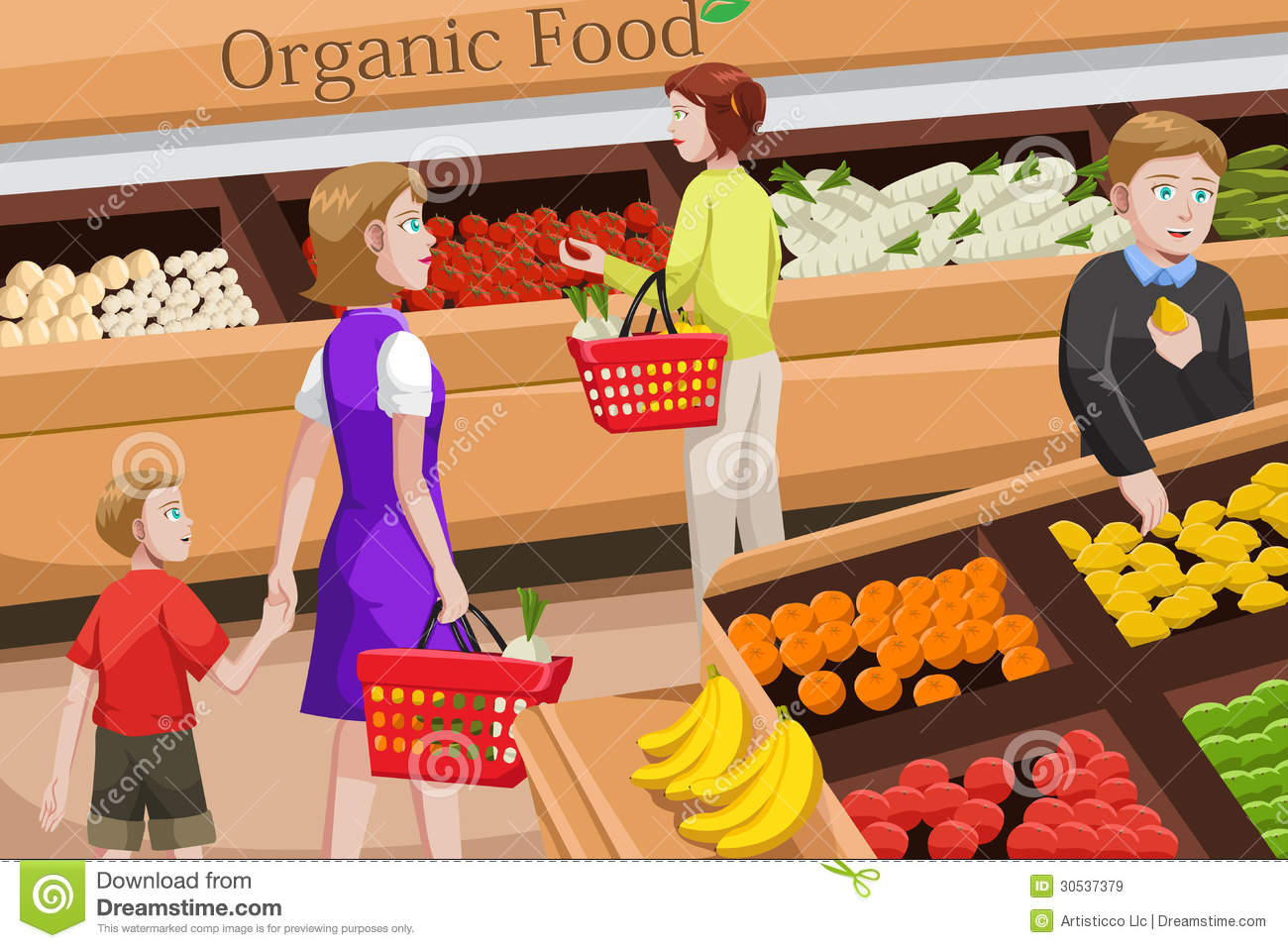 People Shopping For Organic Food Royalty Free Stock Images - Image ...