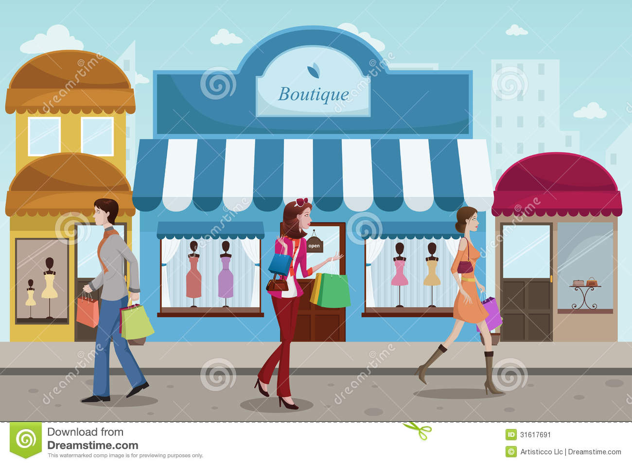People shopping in an outdoor mall with french boutique for Boutique center