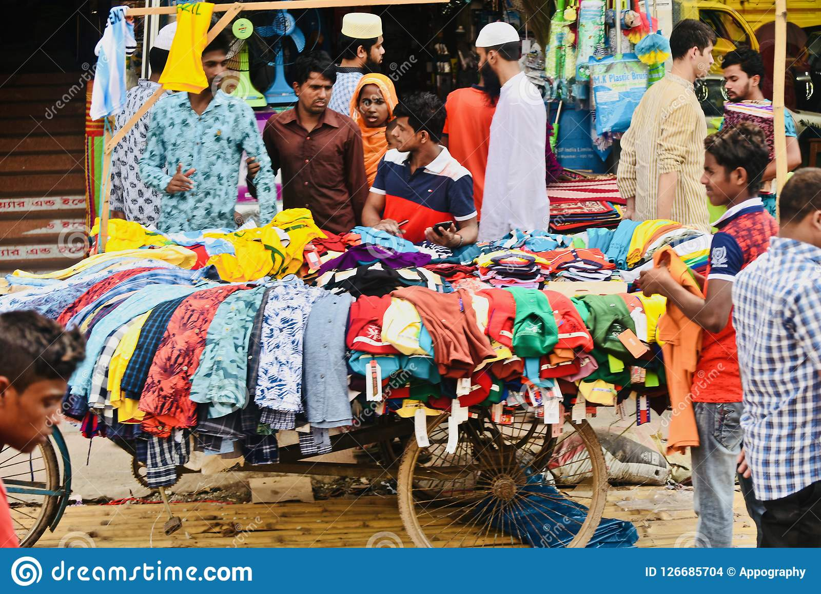 People shopping from a street seller in Bangladesh unique photo