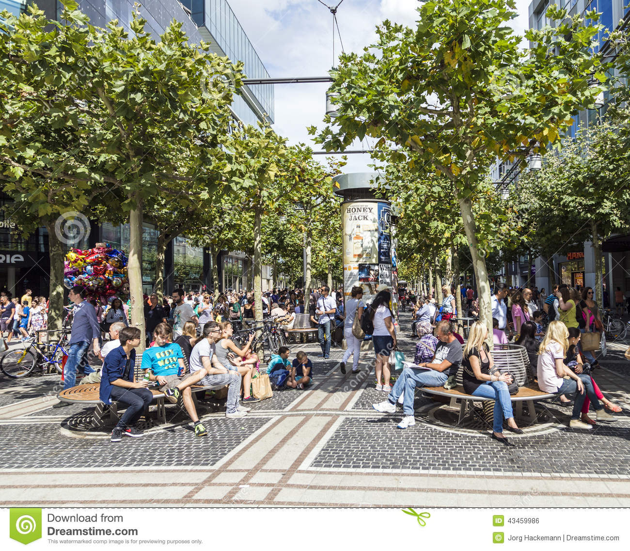 people on the shopping street zeil in frankfurt am main editorial photo image 43459986. Black Bedroom Furniture Sets. Home Design Ideas
