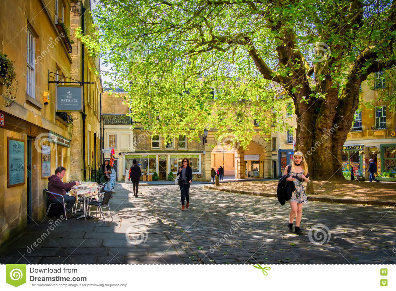 People And Shops, Courtyard, Bath England Editorial Image - Image of ...