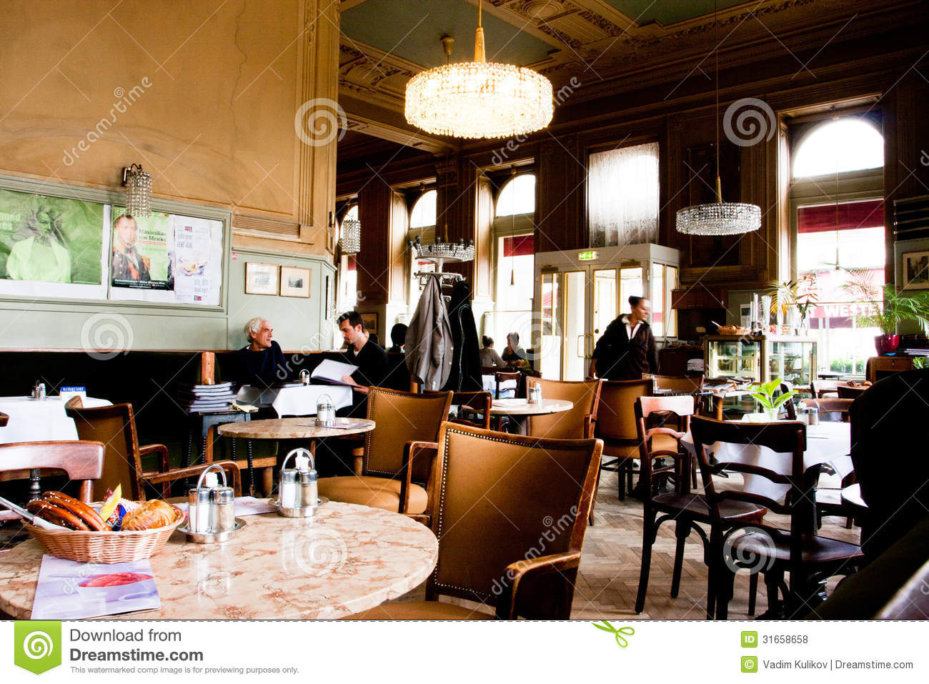 People Sit Inside The Old Stylish Cafe In Vienna Editorial