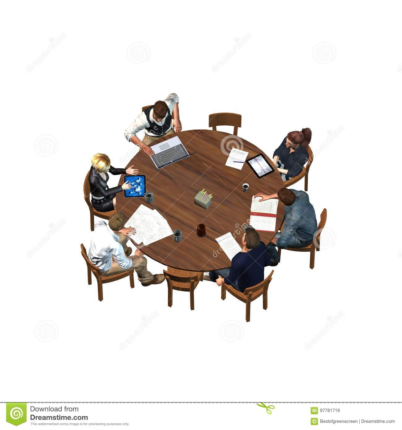 People Sitting At A Round Table In A Meeting - Business