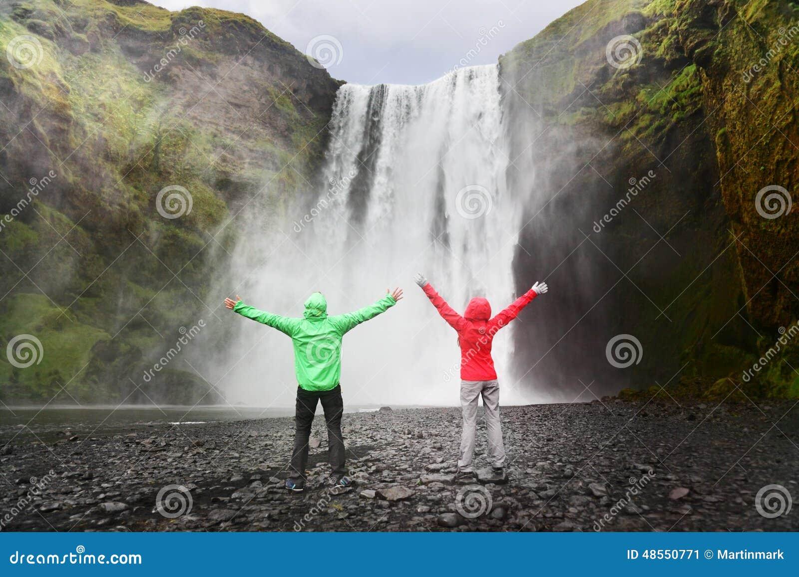 People by Skogafoss waterfall on Iceland
