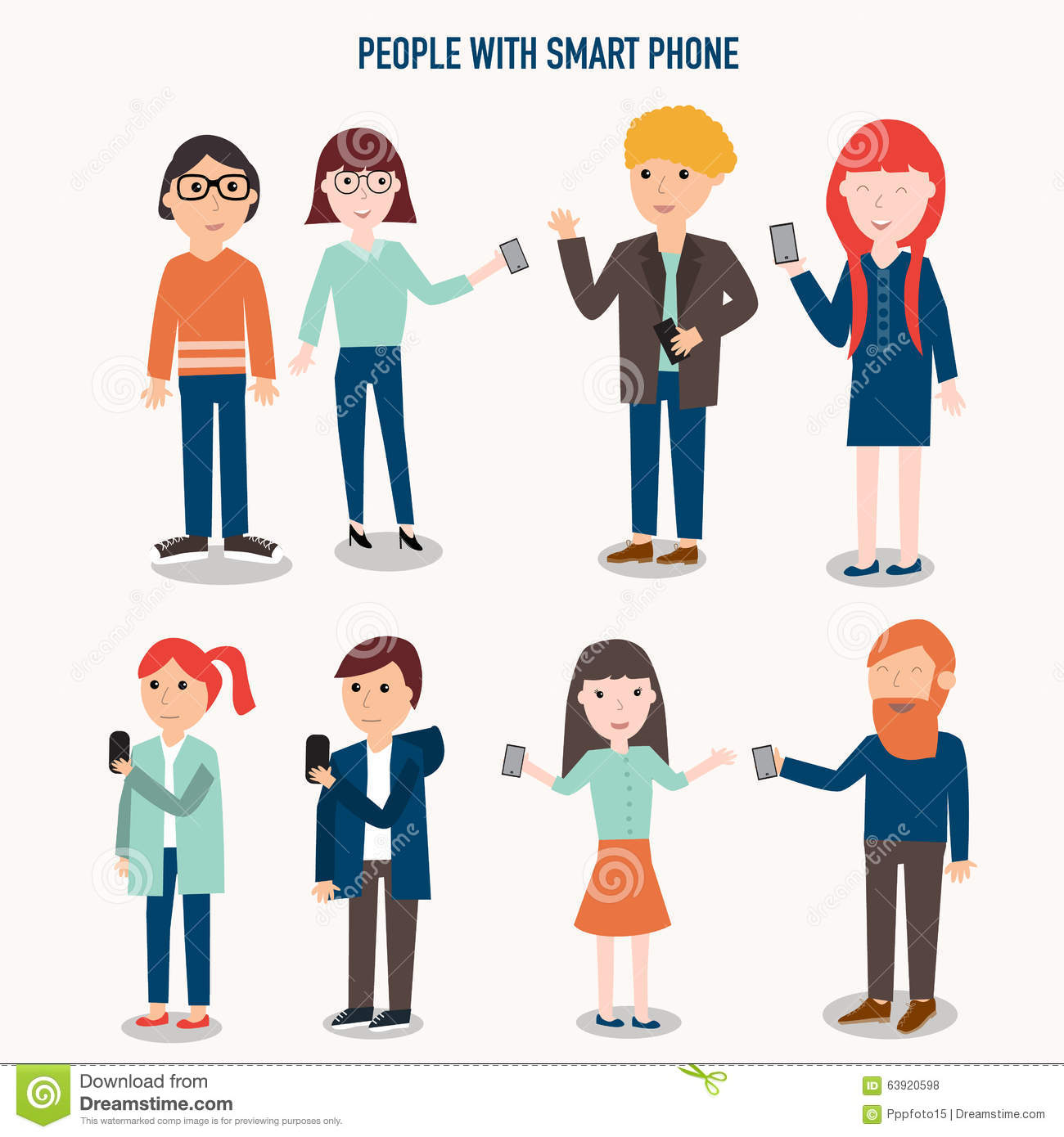 people with smartphone infographics stock vector image