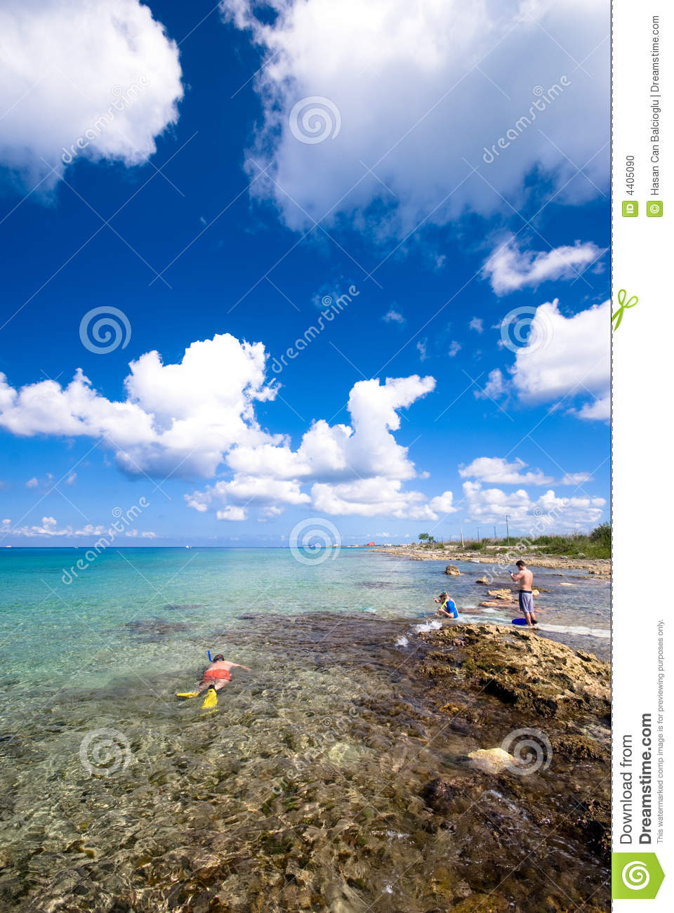 People snorkeling at the beach at Cozumel, Mexico