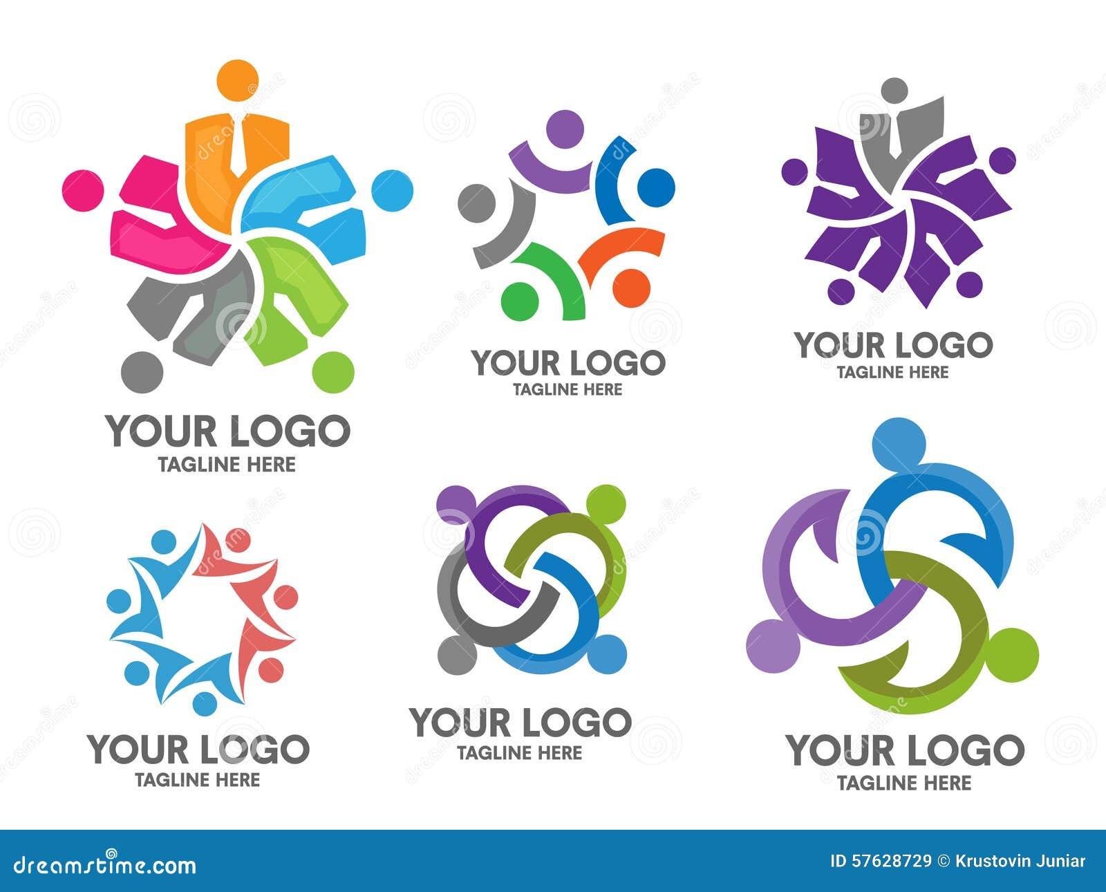 People Social Community Logo Set Stock Vector - Image: 57628729