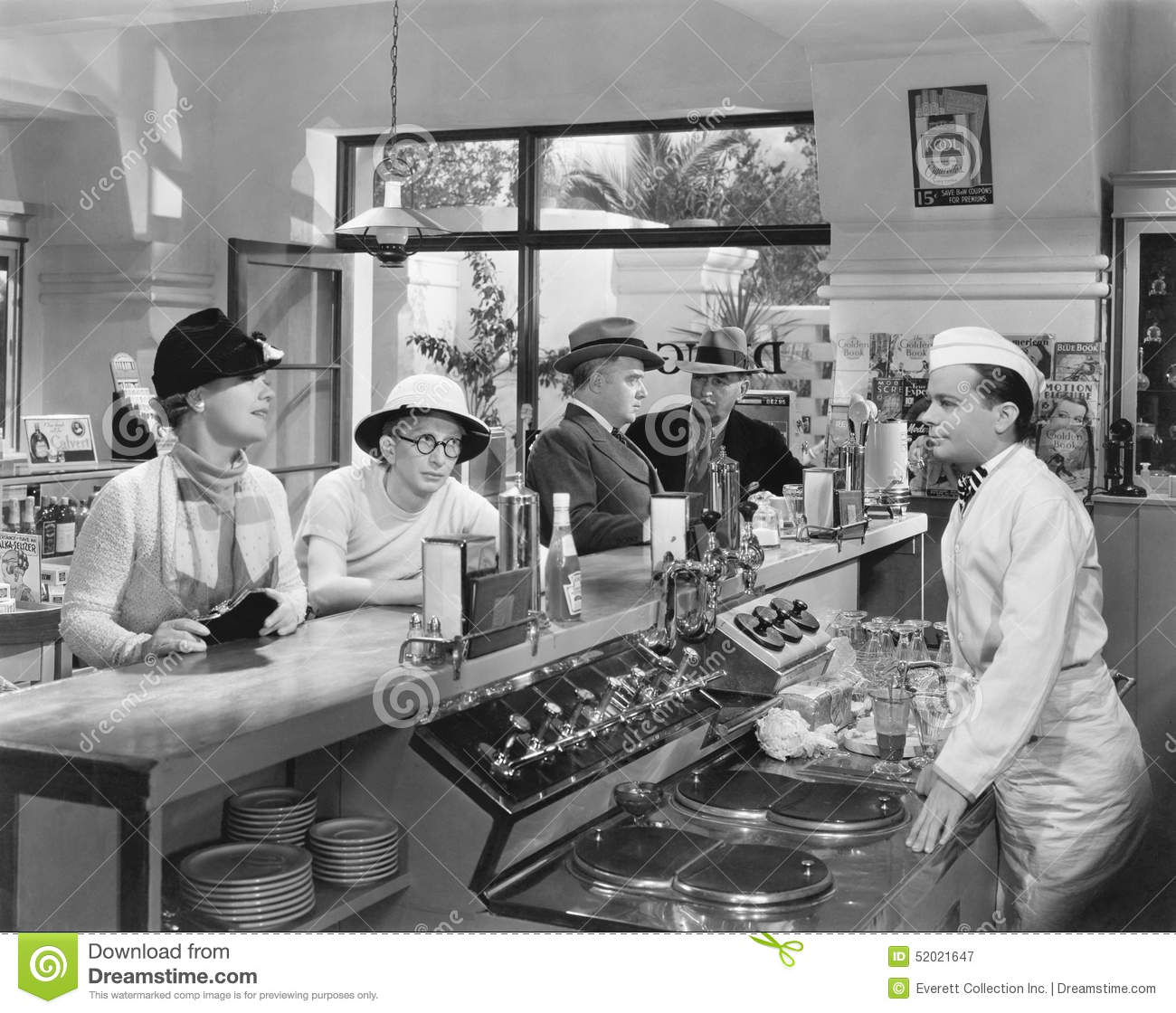 People At A Soda Fountain Stock Photo Image 52021647