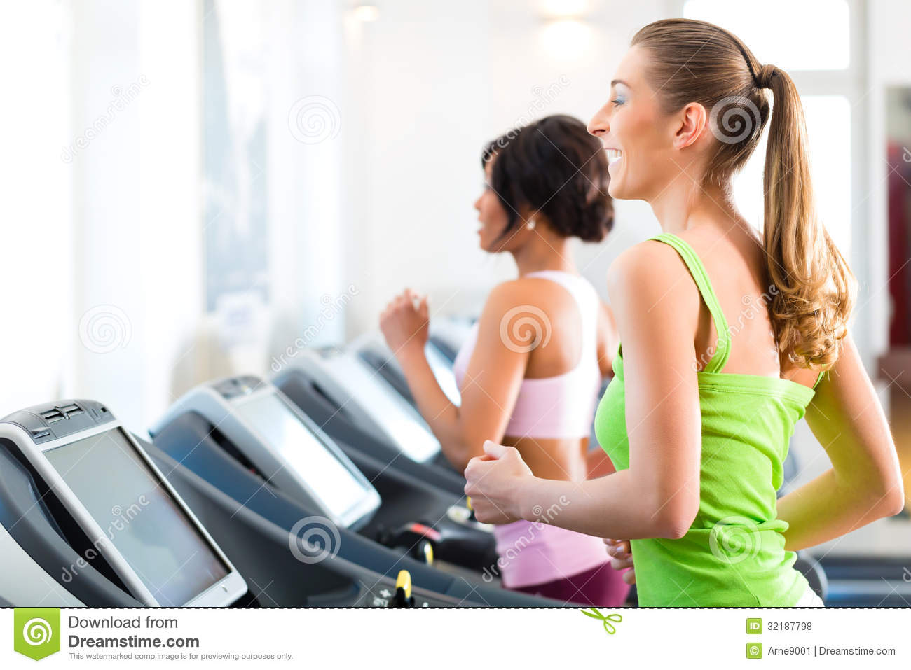 People in sport gym on treadmill running stock photo for Club piscine sport fitness