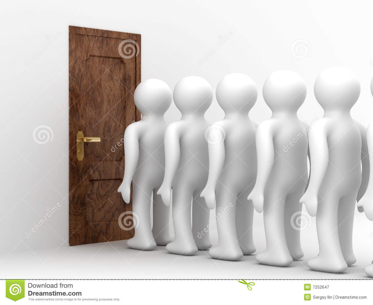 People Standing One After Another Before Door Royalty Free