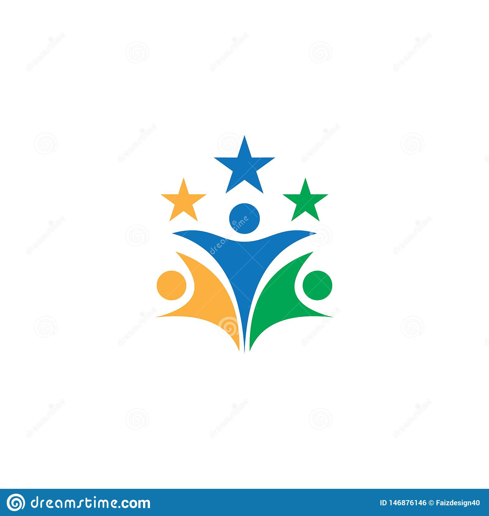 People star teamwork business logo