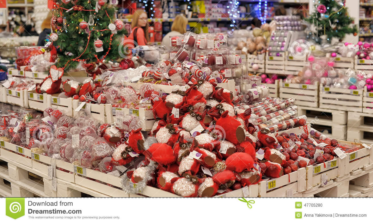People In The Store To Buy Christmas Decorations Editorial Image ...