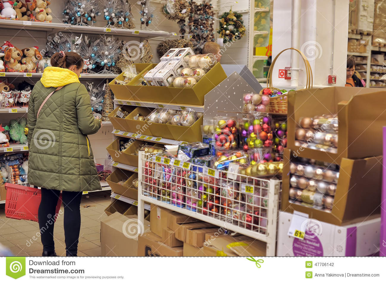 People in the store to buy christmas decorations editorial for Purchase christmas decorations
