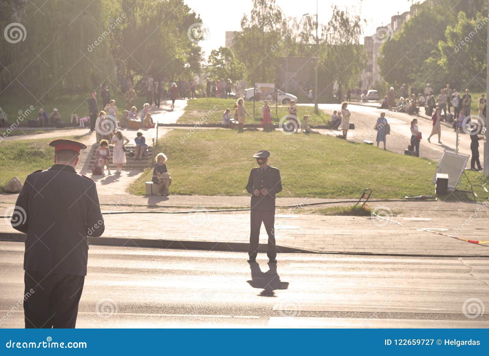 People In Street At Filming Tv Series Chernobyl Editorial