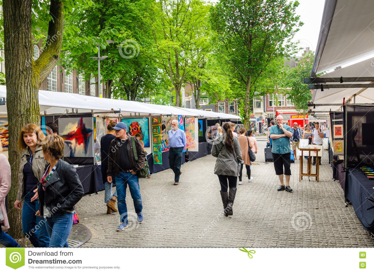 People Strolling around a Street Market in Amsterdam City Centre