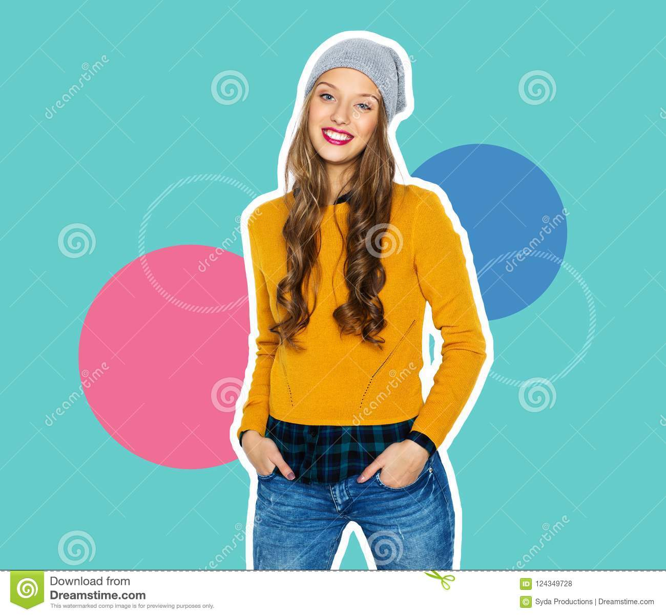 7d002c76f622 People, style and fashion concept - magazine style collage of happy teenage  girl in casual clothes and hipster hat on colorful background