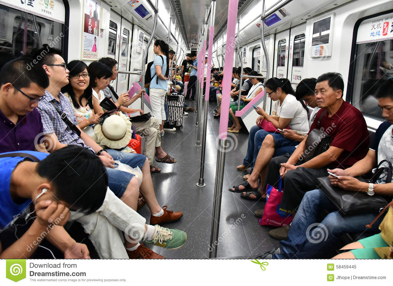 People in subway train editorial image. Image of wuhan ...