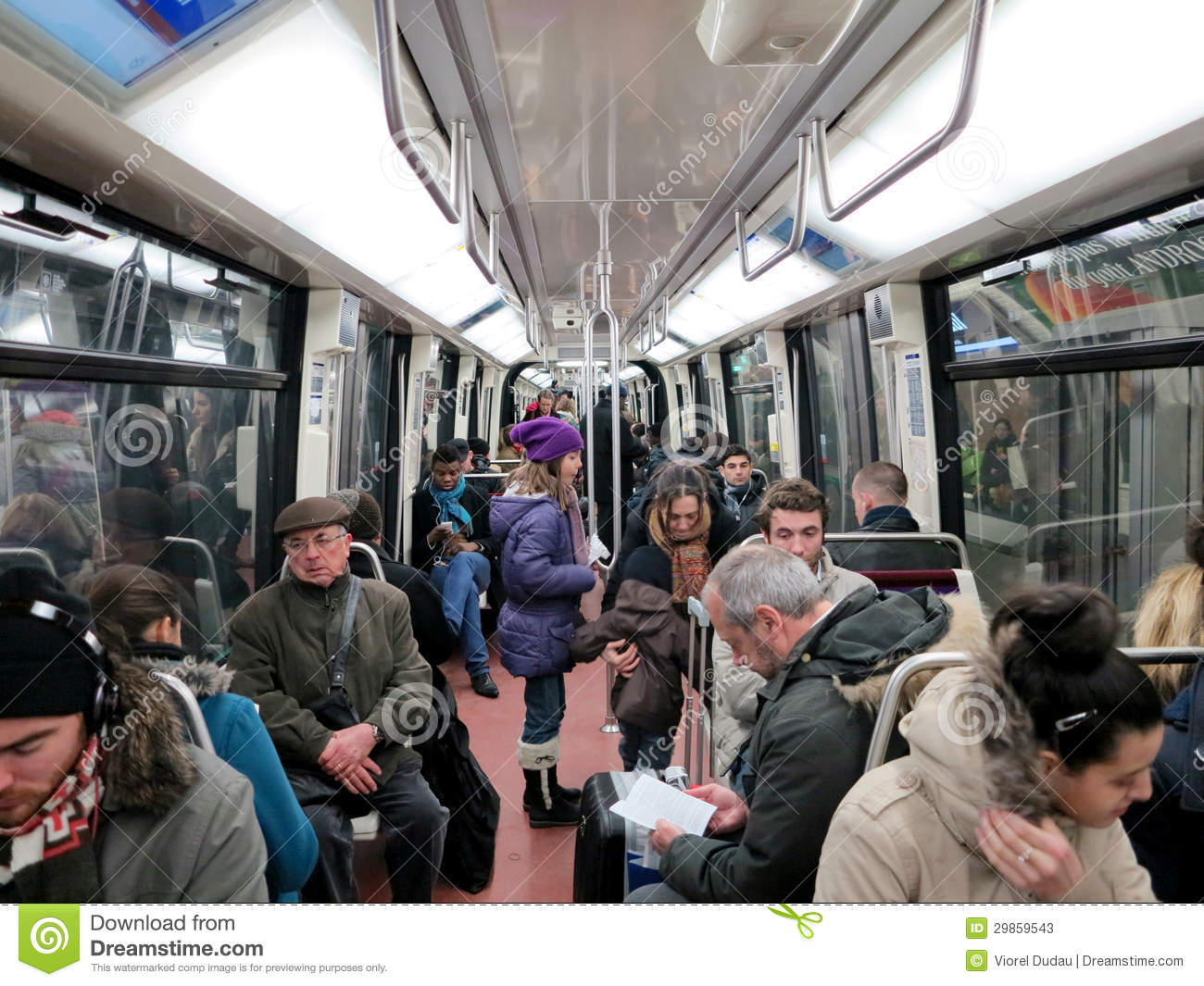 People In Subway Train Wagon Interior Editorial Stock ...