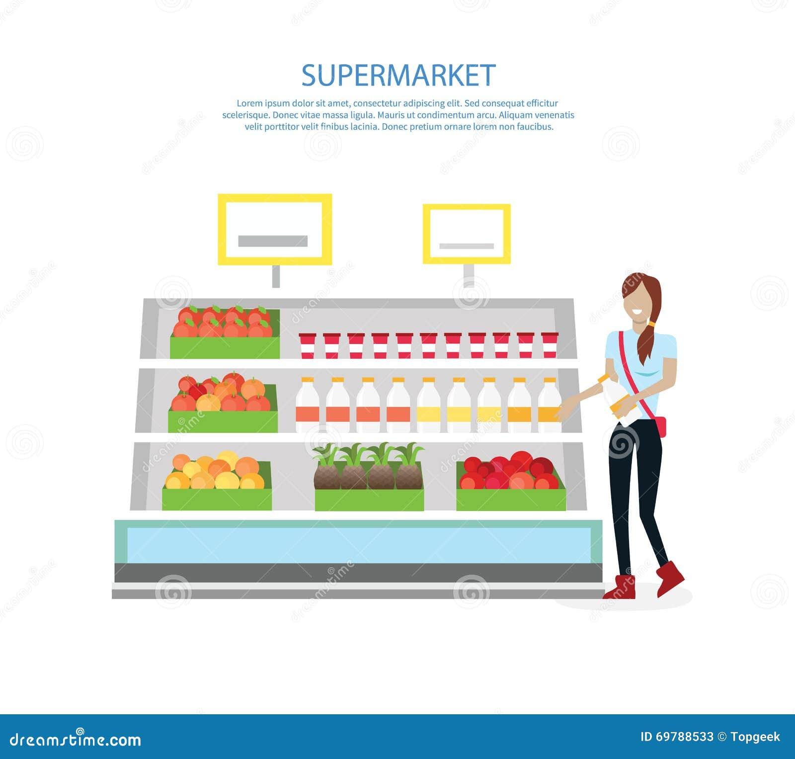 People In Supermarket Interior Design Stock Vector