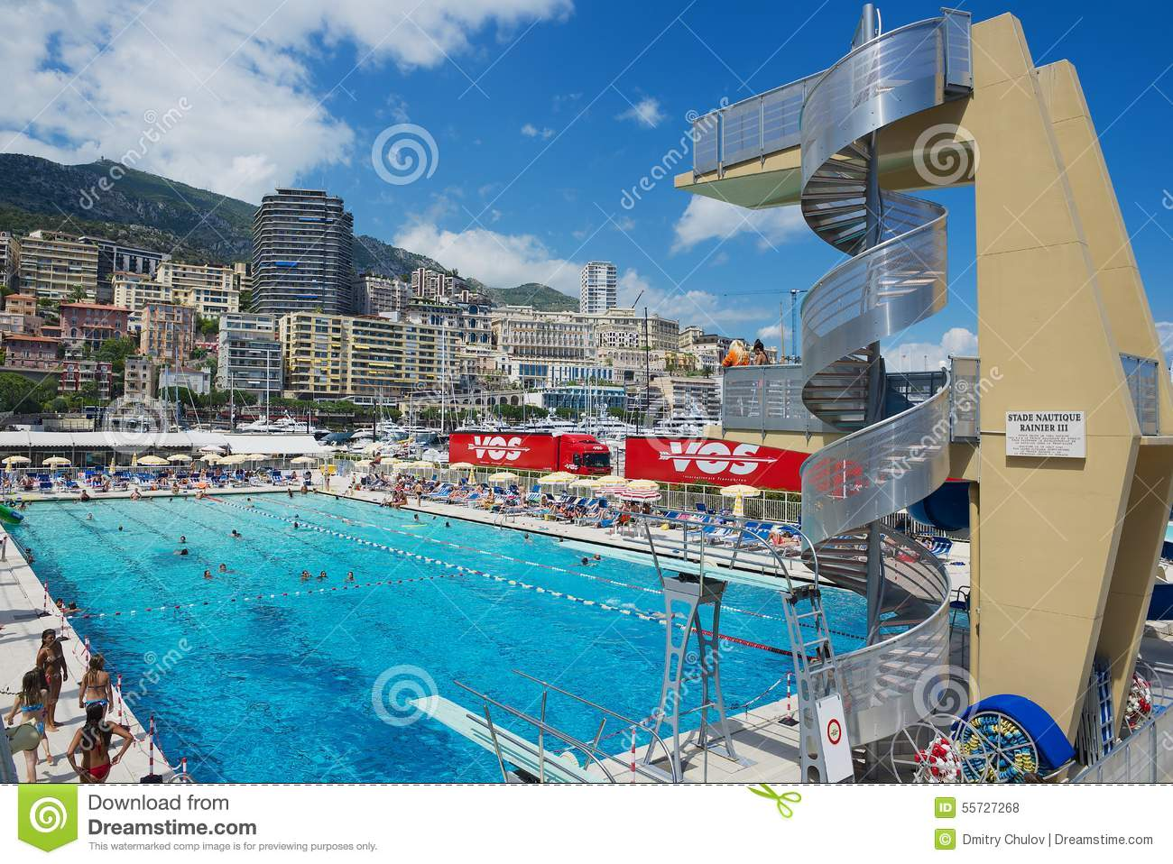 People Swim And Sunbathe At The Open Air Public Swimming Pool In Monaco Editorial Stock Photo