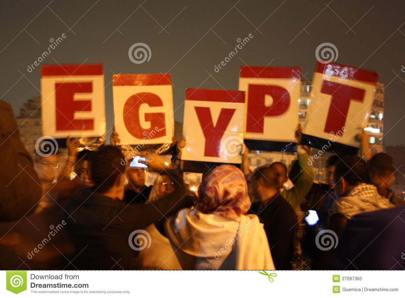 People protesting in Tahrir Square