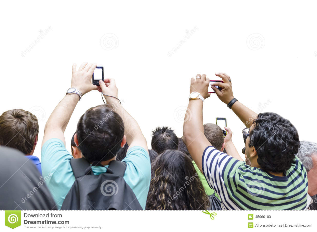 group of people are taking a picture with cameras and mobile phones ...