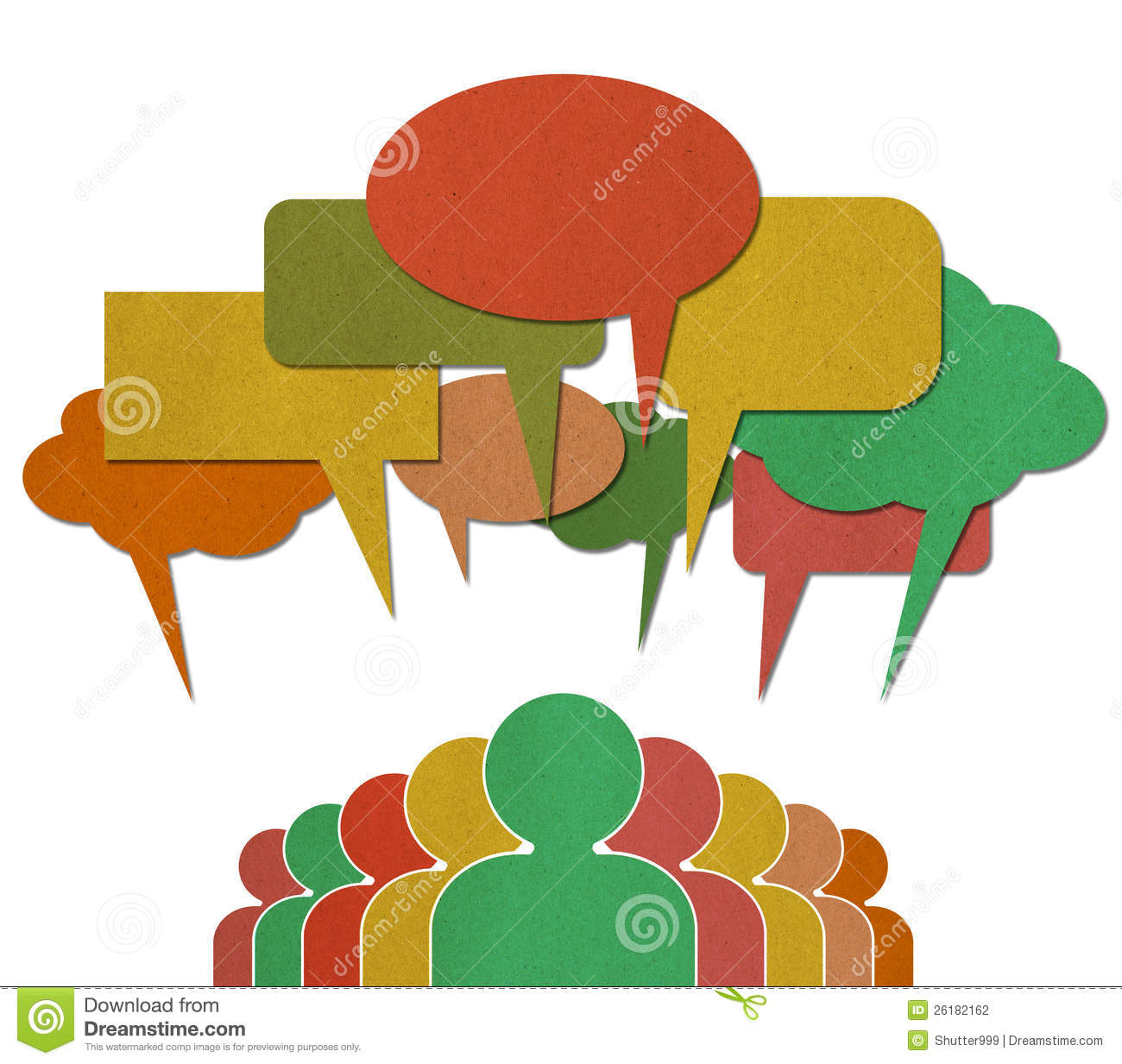 People Talk In Colorful Speech Bubbles Stock Photo
