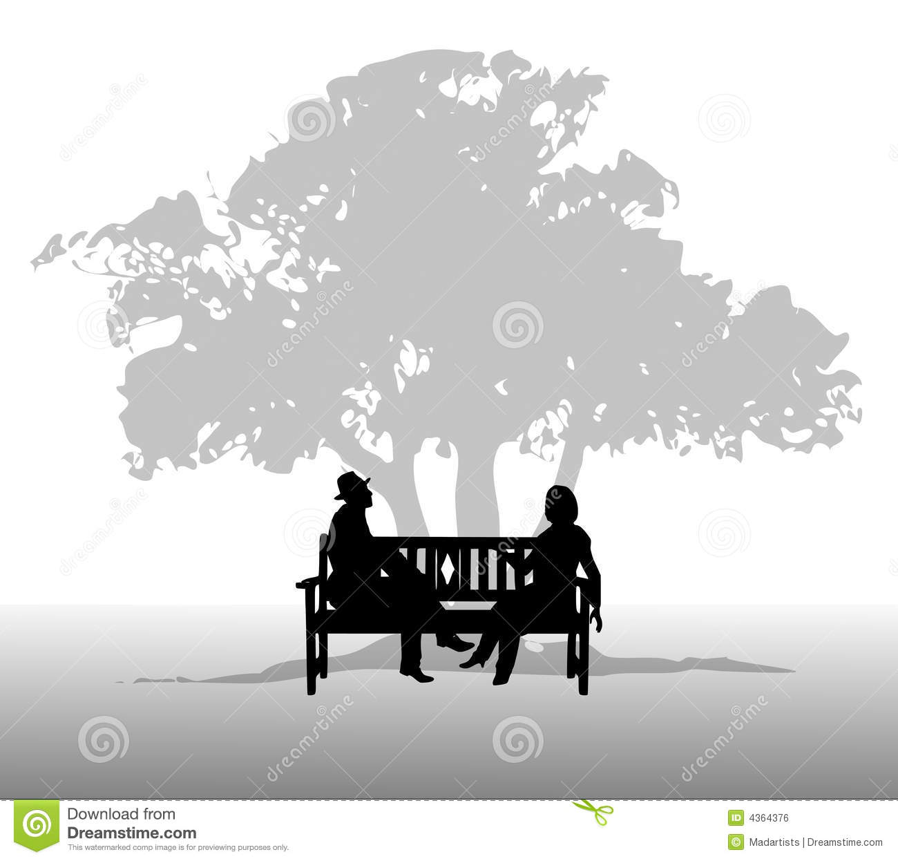People Talking on a Bench stock illustration. Illustration of ... for People On Bench Silhouette  197uhy