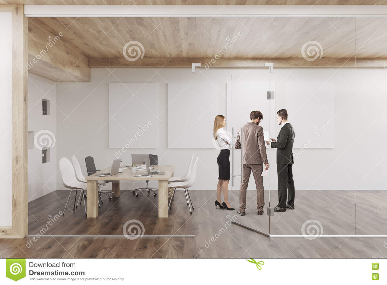 People Are Talking In Conference Room With Four Posters
