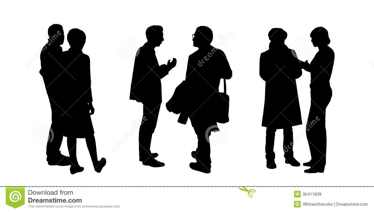 People Talking To Each Other Silhouettes Set 6 Stock Illustration ...