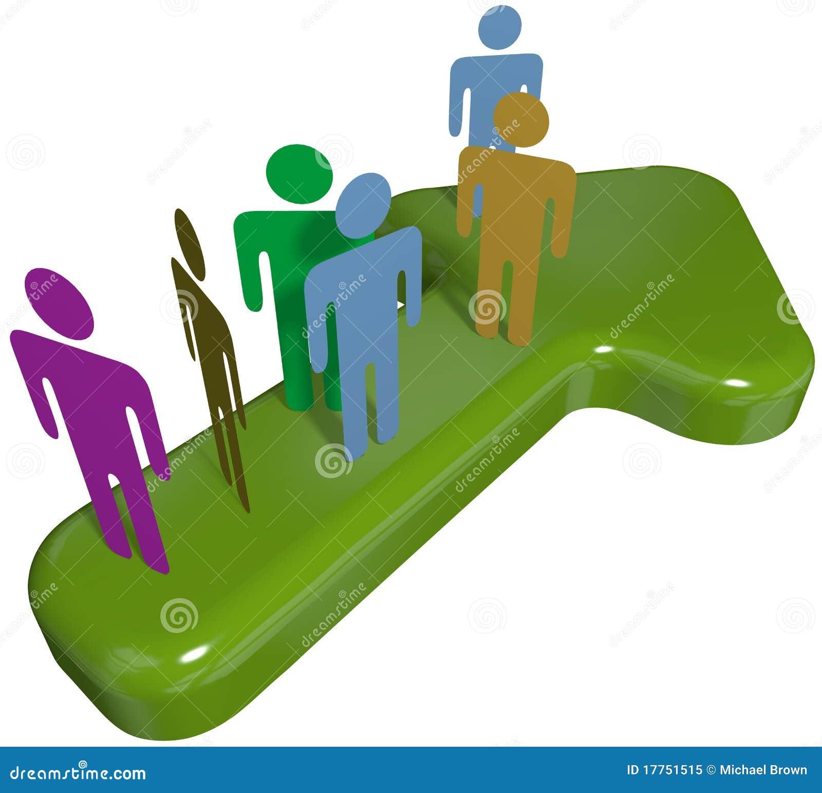 People Team On 3D Symbol Arrow To Progress Success Stock