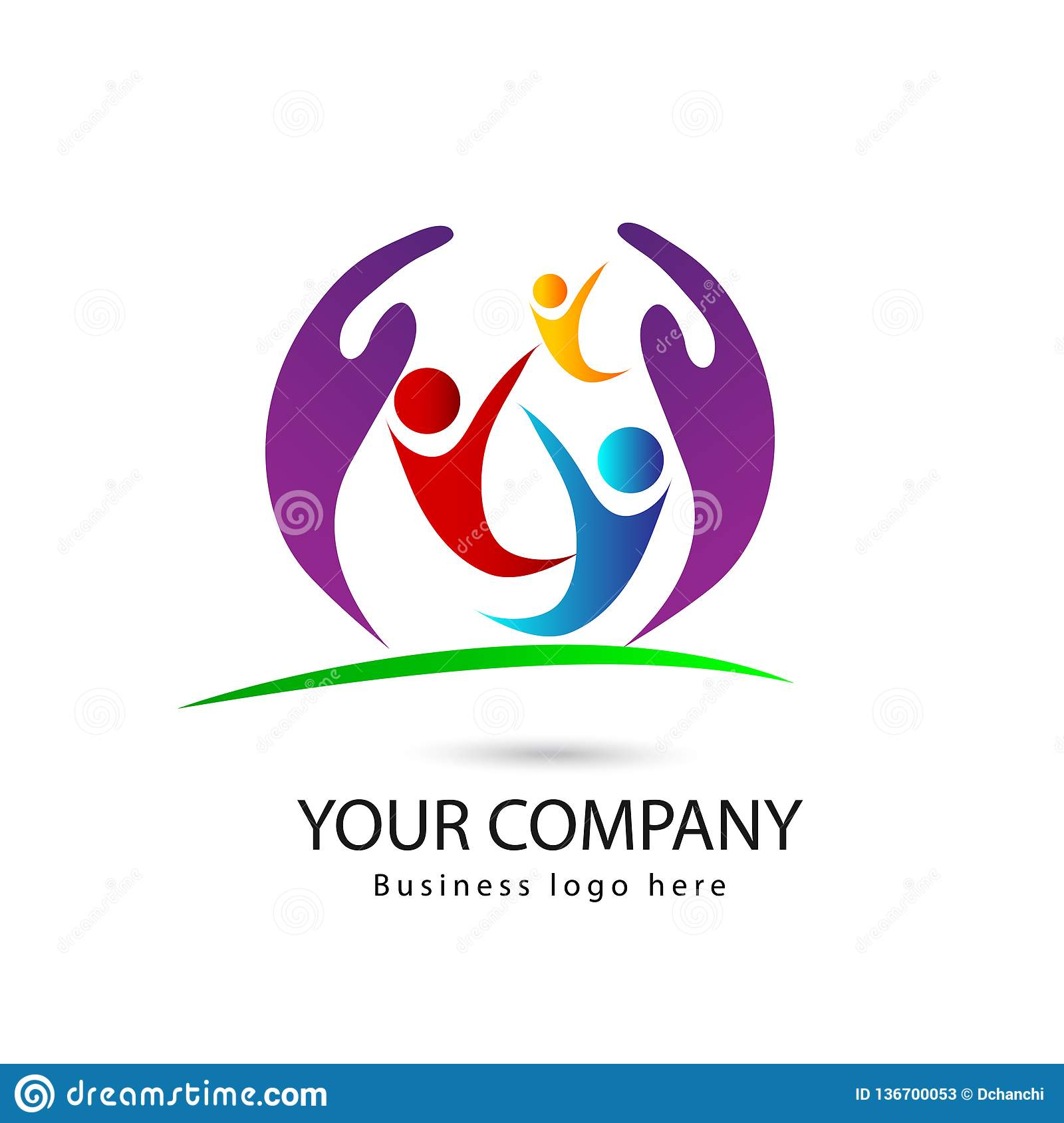 People Three People Three Color With Hand Family Eco Friendly Logo