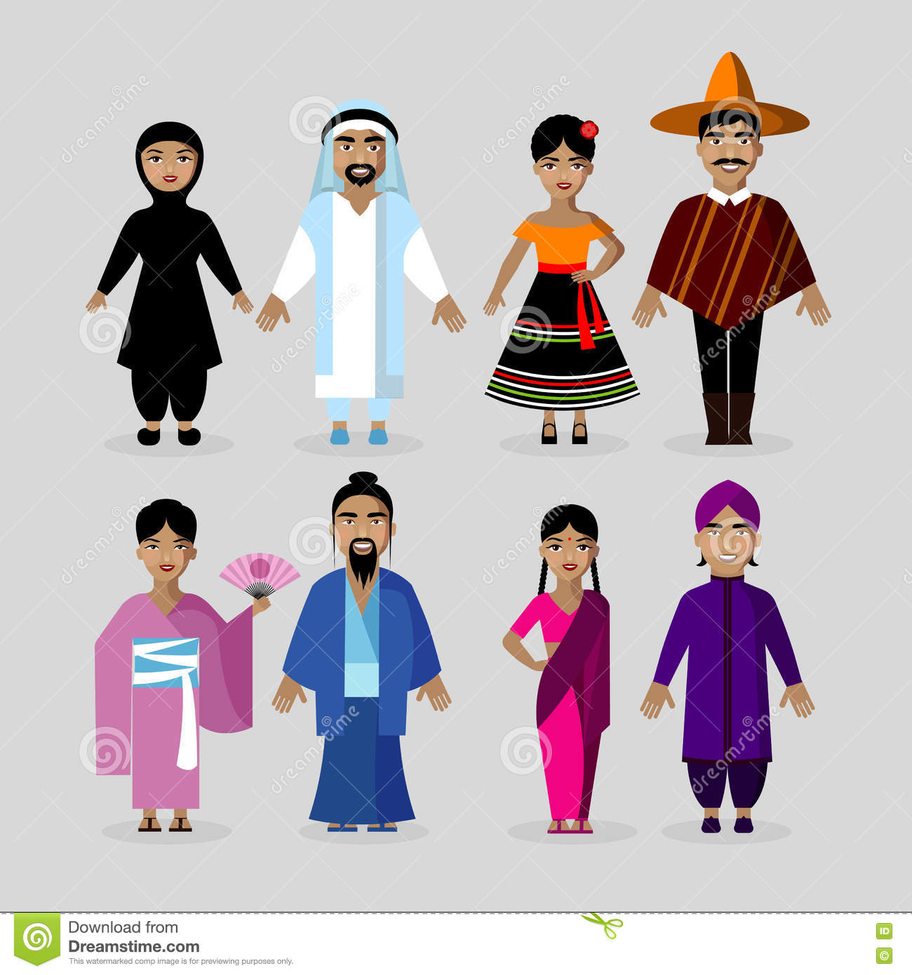 people in traditional costumes mexico japan india middle east