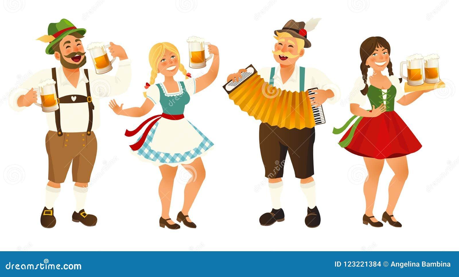 People In Traditional German Bavarian Costume Holding Beer Mugs Oktoberfest Cartoon Vector Illustration Isolated On Stock Vector Illustration Of Culture Female 123221384
