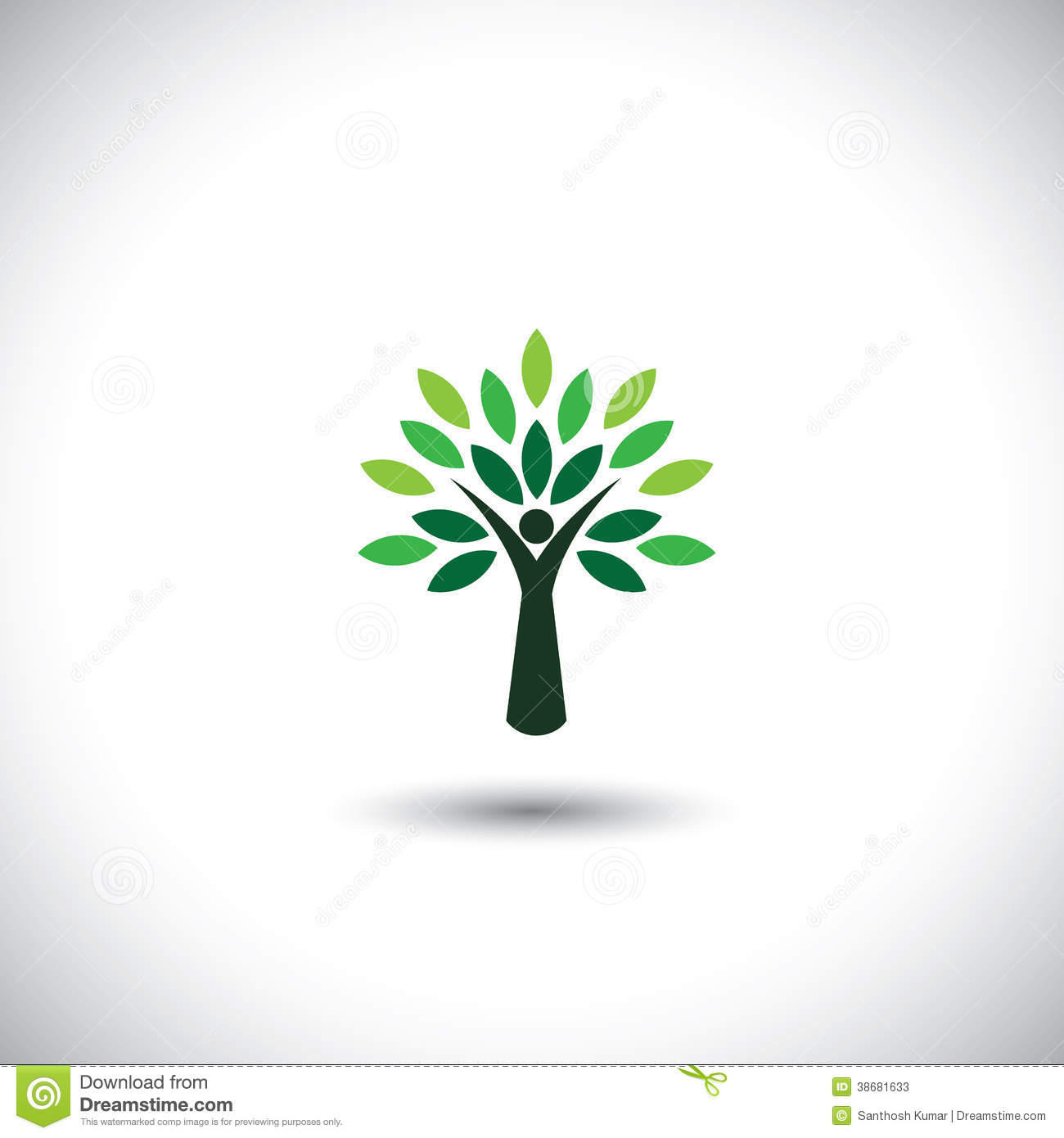 People Tree Icon With Green Leaves Stock Vector