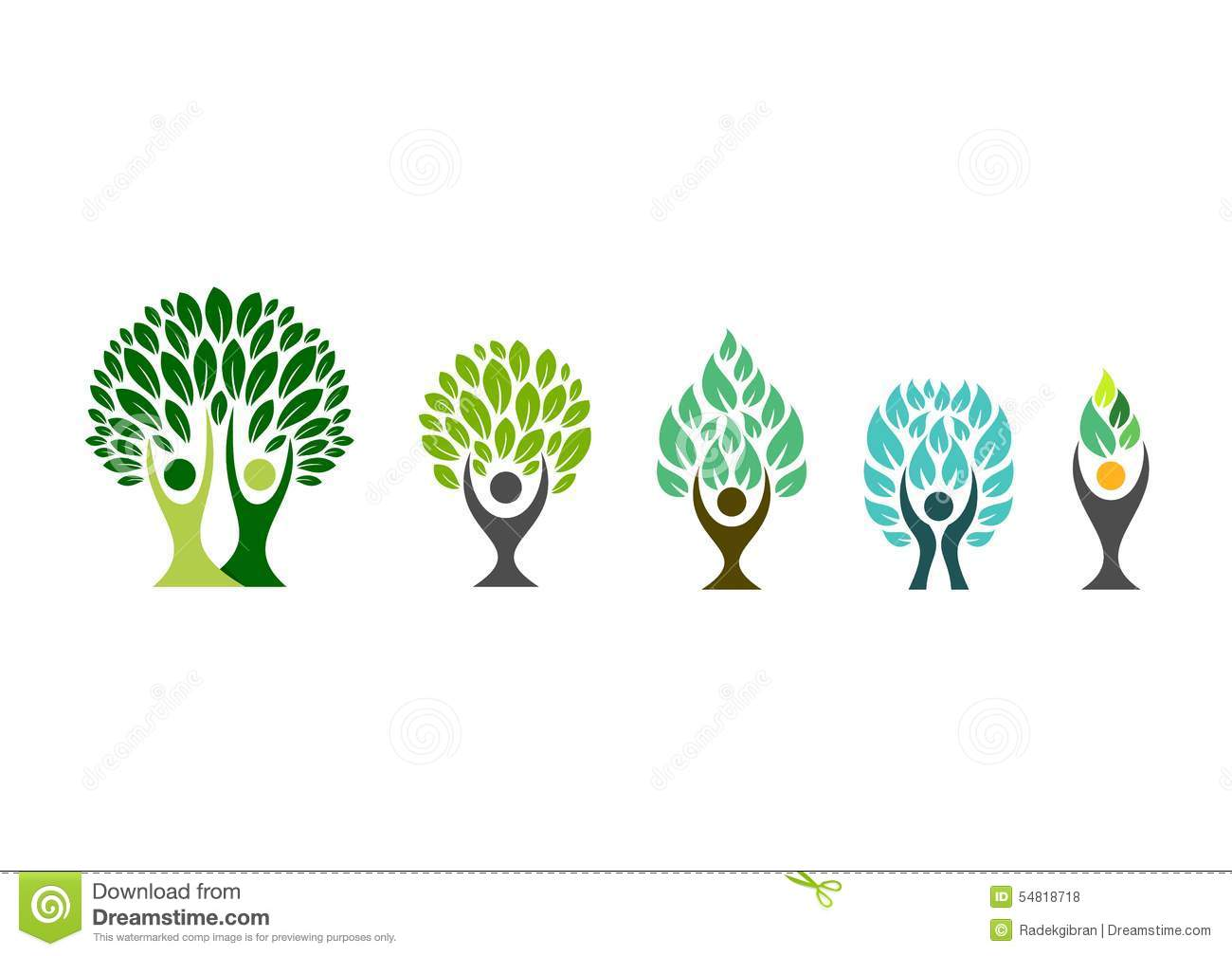 People Tree Logowellness Symbolfitness Healthy Icon Set Design Vector