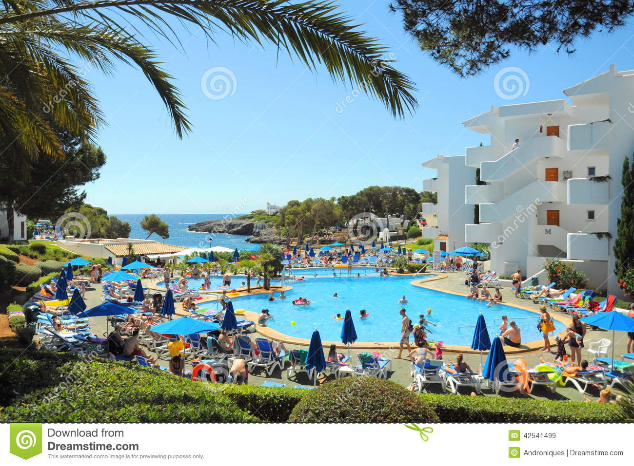People At Tropical Resort Cala DOr Mallorca