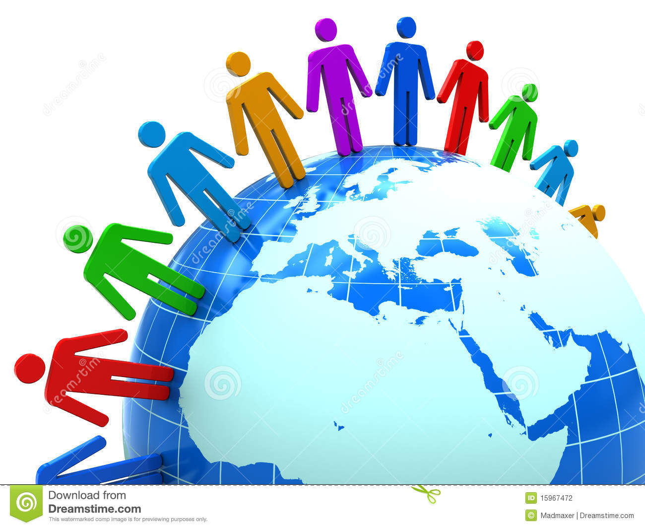 Abstract 3d illustration of colorful people around earth globe.