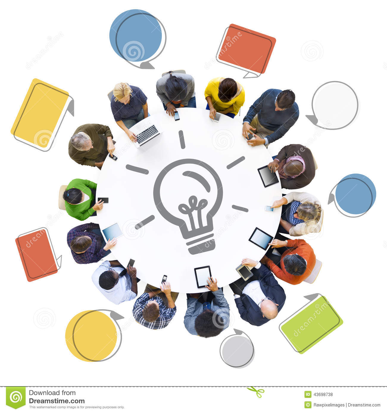 People using digital devices with idea concept stock photo for Group pics ideas