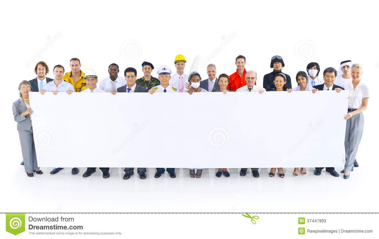 people in variety occupation holding placard stock photos